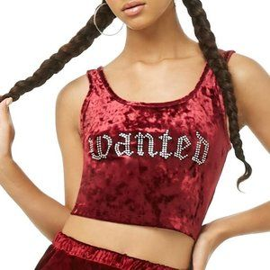 Forever 21 Wanted Crushed Velvet Crop Tank Top